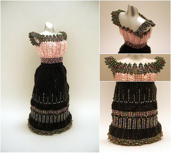 Watermelon Black, Pink, and Green Long Skirt Miniature Bead Dress