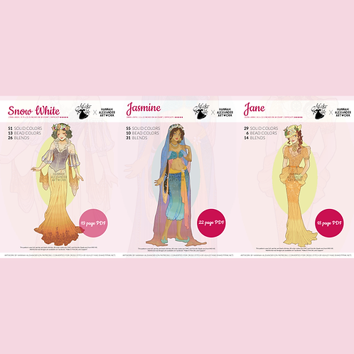 Set #5: Jane, Snow White, and Jasmine in Art Nouveau from Hannah Alexander 48/50