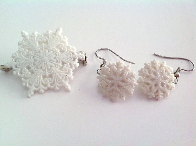 Snowflake Earring and Pin/Brooch Set
