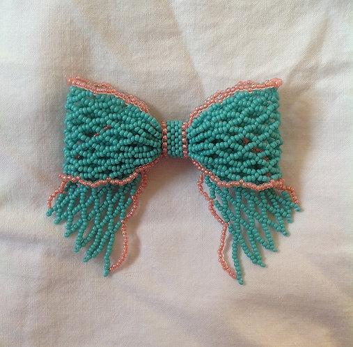 Medium Turqoise and Coral (Blue and Pink) Ribbon Bow Pin / Brooch