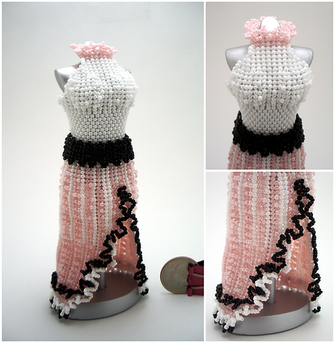 Sweet Pink, White, and Black Split-Skirt Miniature Bead Dress