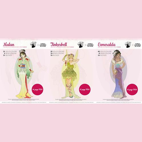 Set #2: Mulan, Tinkerbell, Esmeralda in Art Nouveau from Hannah Alexander 50/50