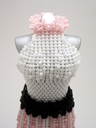 Sweet Pink, White, and Black Split-Skirt Miniature Bead Dress