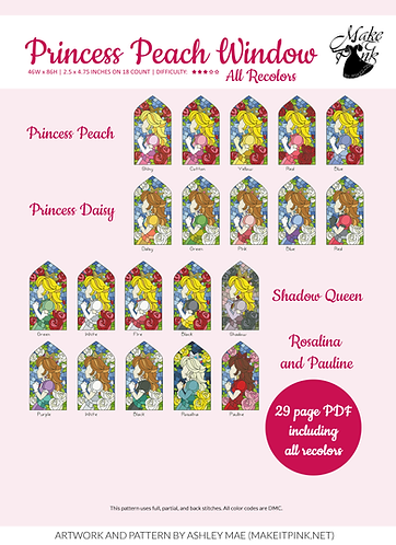 Princess Peach Stained Glass Window - All Versions, Inspired Nintendo Fanart