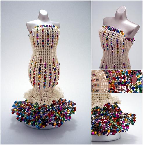 Rainbow Cream Confetti Mermaid Miniature Bead Dress