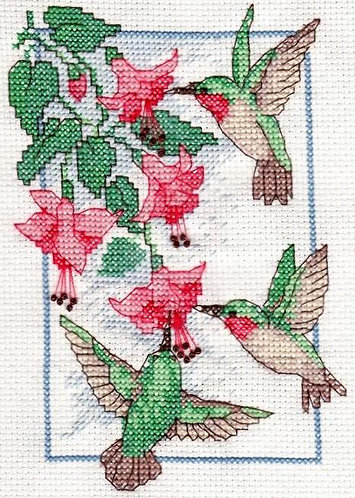 Hummingbird Trio on Pink Flowers
