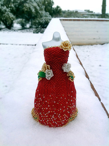Red, Green, and Gold Christmas Roses Wedding Miniature Bead Dress
