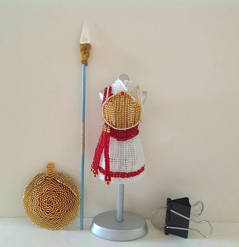 Shield Maiden Kerria Red and White Miniature Bead Dress with Spear & Shield