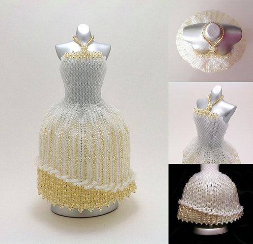 Elegant Wedding White and Gold Ball Gown Miniature Bead Dress