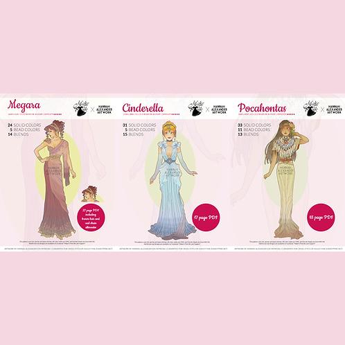 Set #6: Pocahontas, Cinderella, Megara in Art Nouveau from annahAlexander 50/50