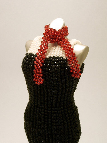 Little Black Miniature Bead Dress with Red Scarf