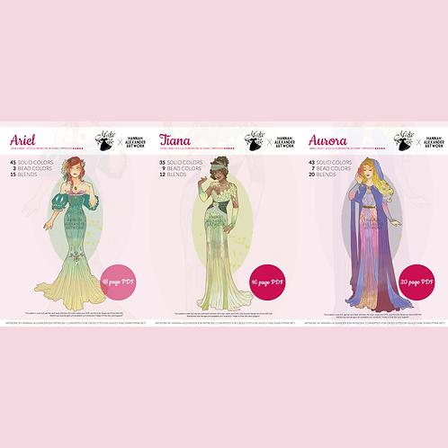 Set #3: Ariel, Tiana, Aurora in Art Nouveau from Hannah Alexander 50/50