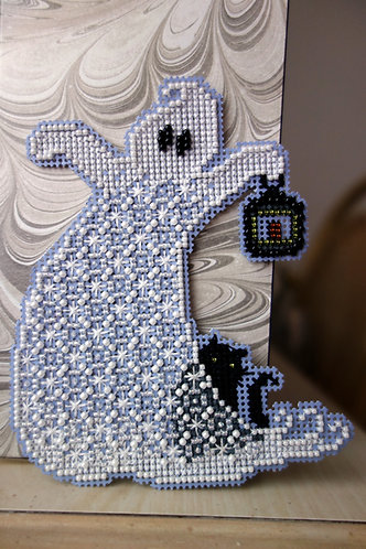 Ghost Made of Beads with Black Cat