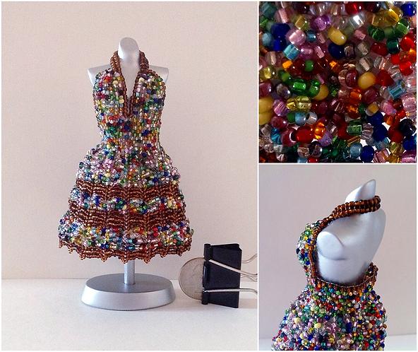 Bead Soup Confetti Halter Miniature Bead Dress