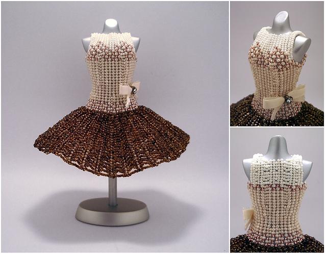 Coffee Cream and Copper Ballerina Miniature Bead Dress