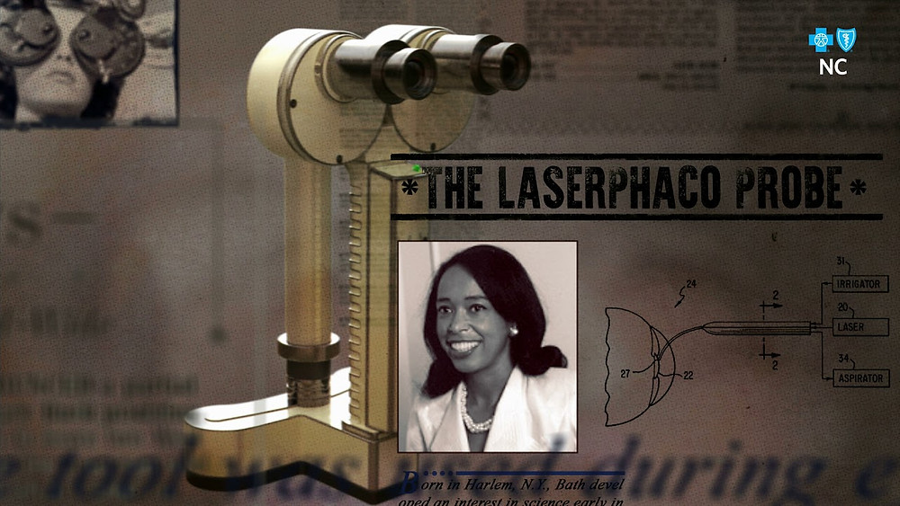 A still from a video containing an image of Dr. Patricia Bath, and the Laserphaco Probe