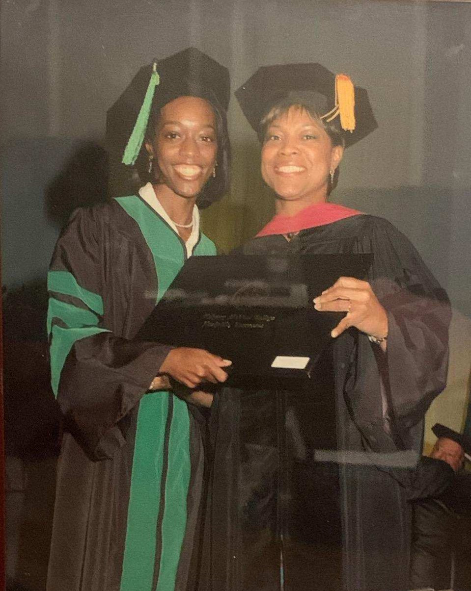 Dr. Zanetta at her Med School graduation with Dr. Valerie Montgomery Rice