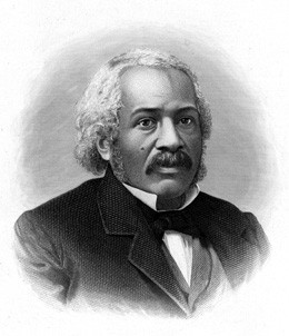 A black and white drawing of a Black man in a suit with a mustache and gray hair