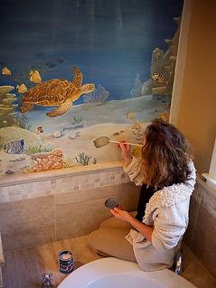 """'Sea turtle"""" mural - Bathroom wall decor..www.minouche-graglia.com"""