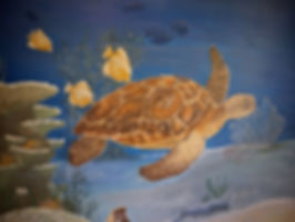 "'Sea turtle"" mural - Bathroom wall decor..www.minouche-graglia.com"