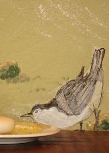 """Sparrow"" mural detail- Bathroom wall decor..www.minouche-graglia.com"
