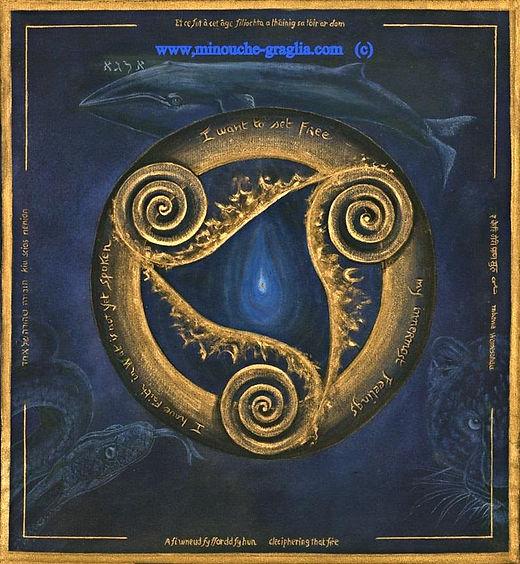 Bridgit Goddess of Poetry - Altar Cloth for kim Rosen,Sacred art ,Whales,leopard,snake,