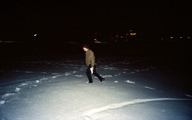 Garrett in the Snow on Parrish Beach