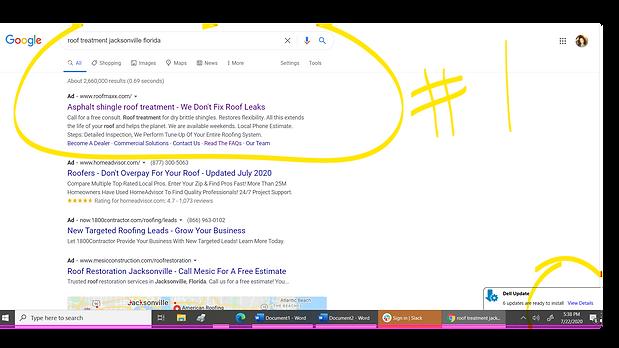 Google SEM 1st spot for roof treatment J