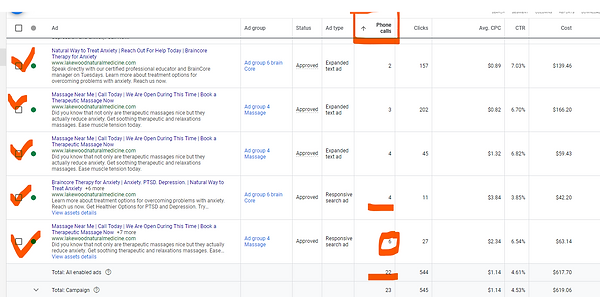 22 calls and ads show snapshot from goog