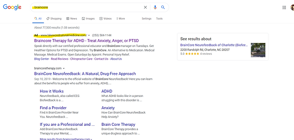 1st spot on Google Braincore Keyword Lak