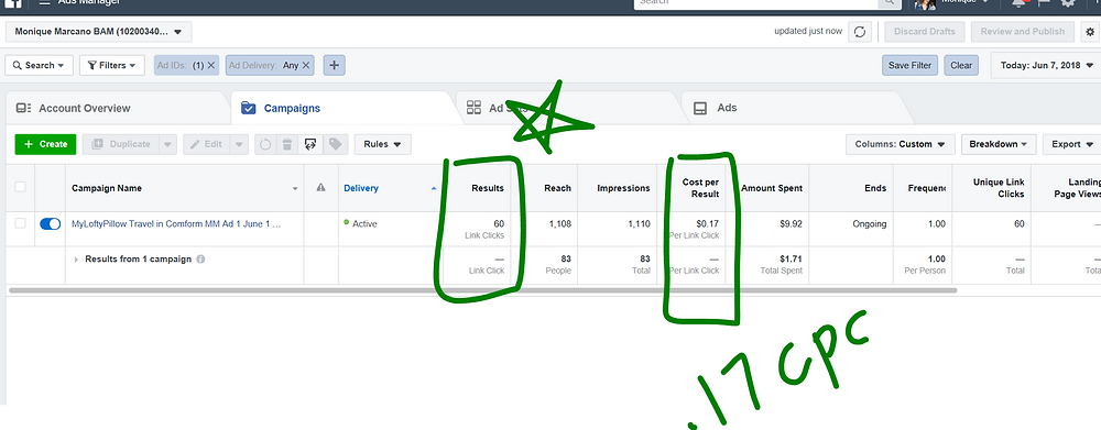 Cost Per Click from Facebook Ads Manager