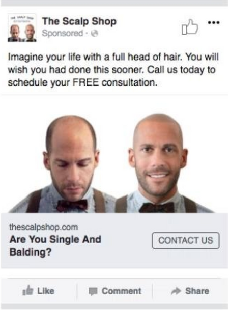 The Scalp Shop Facebook Ad Contact Us Objective