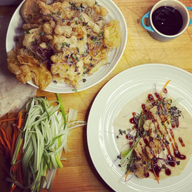 Savoury Pancakes with battered Oyster Mushrooms + Microgreen mix