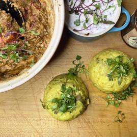Micro Coriander with homemade vegan curry