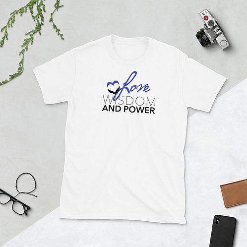 LOVE, WISDOM AND POWER - Unisex T-shirt (Blue logo)