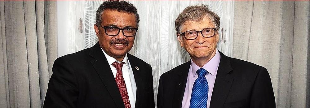 Bill Gates en de directeur van de WHO Tedros Adhanom Ghebreyesus
