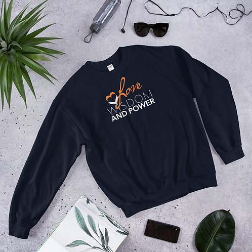 LOVE, WISDOM AND POWER - Unisex Sweatshirt (Orange logo)