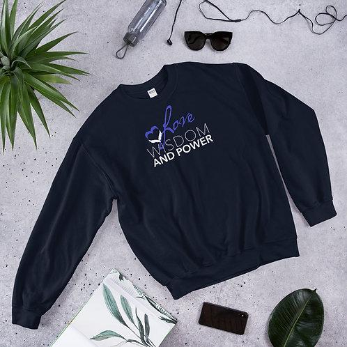 LOVE, WISDOM AND POWER - Unisex Sweatshirt (Blue logo)