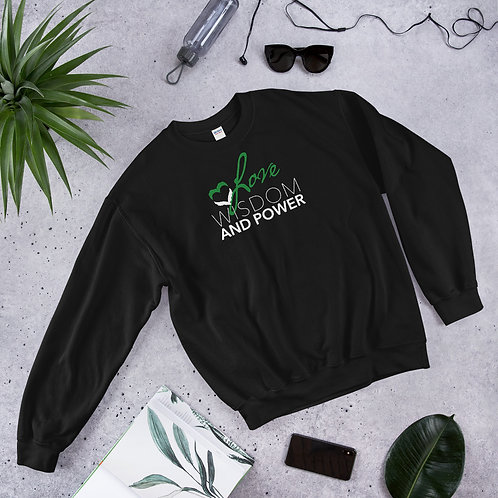 LOVE, WISDOM AND POWER - Unisex Sweatshirt (Green logo)