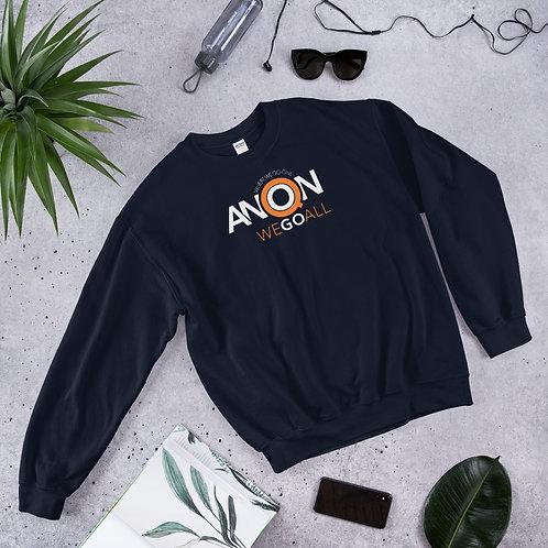 Q - WHERE WE GO ONE WE GO ALL - Unisex Sweatshirt (Orange logo)