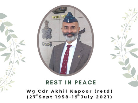NESFAS AND TIP mourn the sad passing ofWg.Cdr. Akhil Kapoor