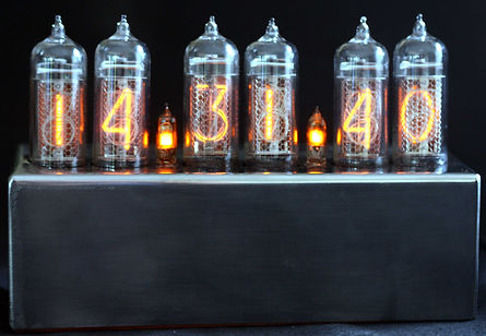Nixie clock IN-14 on stainless steel