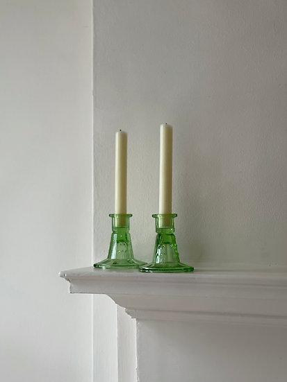 A Pair of Art Deco Glass Candlesticks