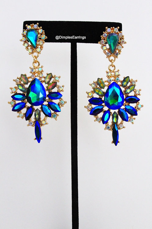 Blue Drop Chandelier Earrings AB Gold Dimples Earrings