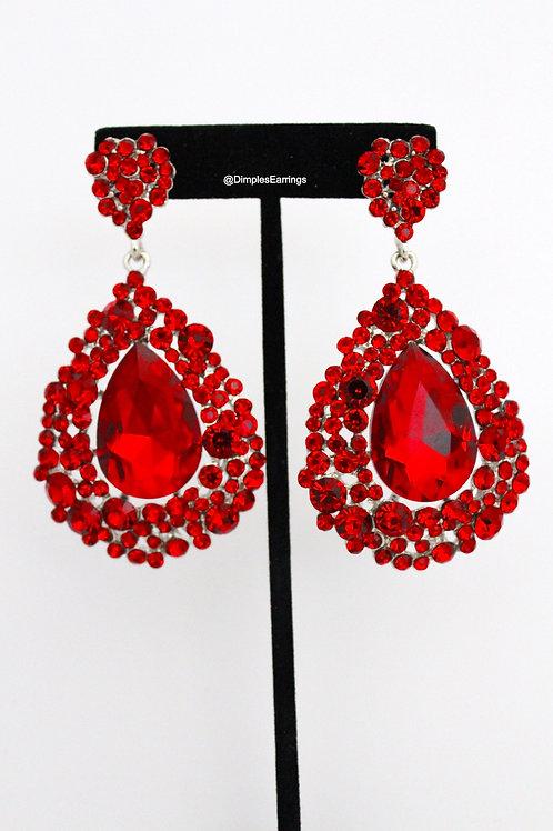 Red Chandelier Drop Large Earrings