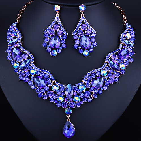Necklace Earring Set - Royal Blue