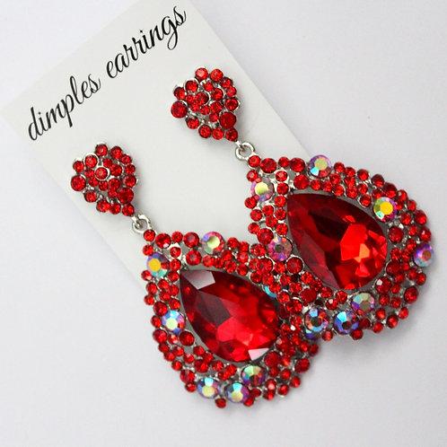 Red Pageant Earrings, Teardrop Earrings, Red Teardrop Earrings, AB Crystal, Pageant Earrings Australia