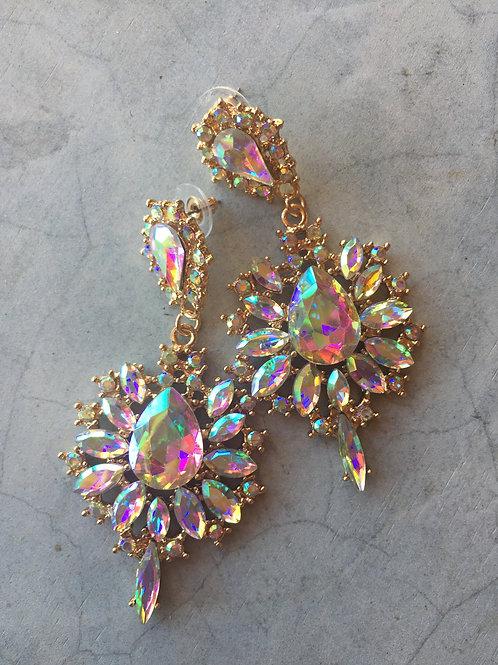 AB Gold Crystal Pageant Chandelier Drop Earrings Dimples Earrings Australia