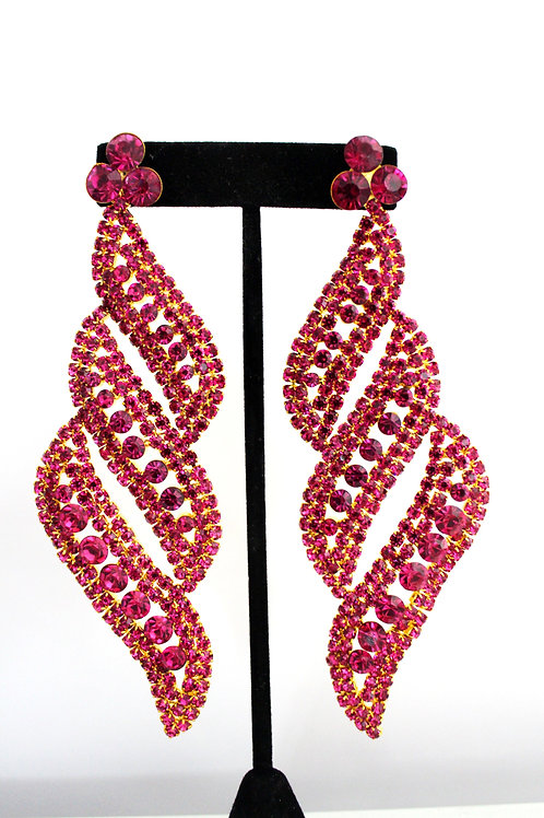 Pink Large Pageant Earrings by Dimples Earrings