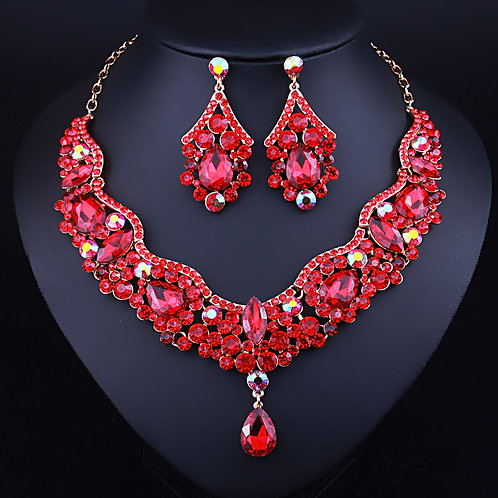Necklace Earring Set - Red